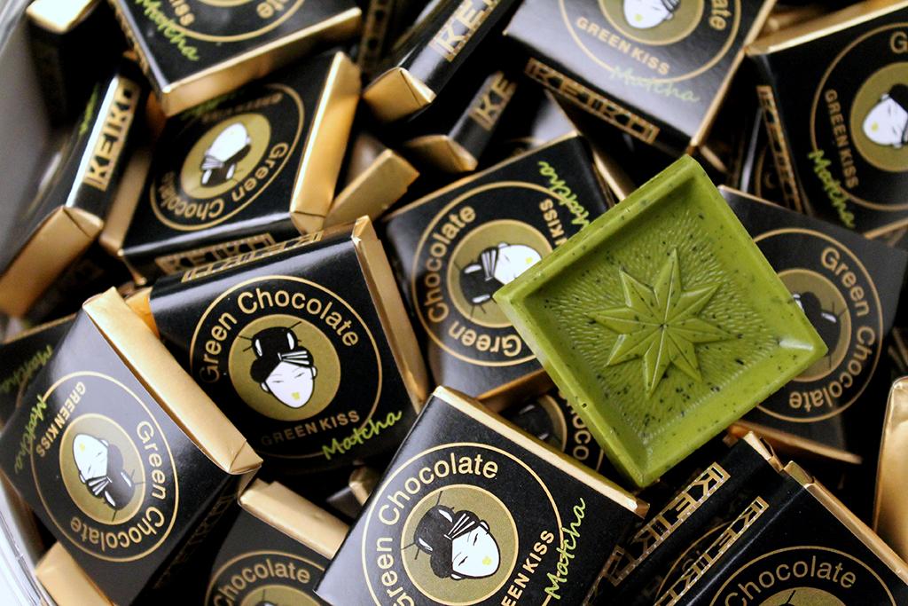 Keiko Grünteeschokolade 5g Täfelchen