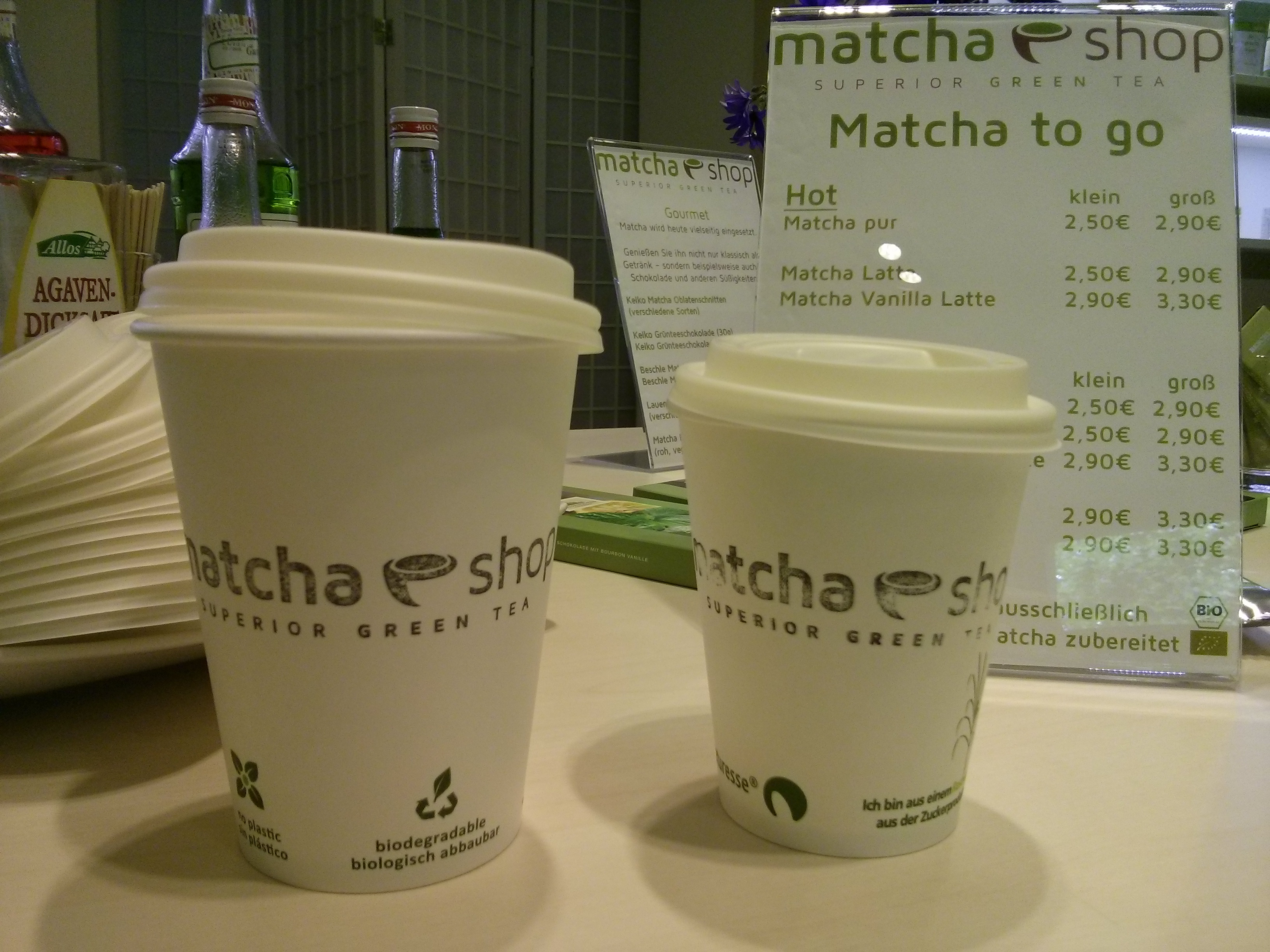 Matcha to go Becher sind kompostierbar