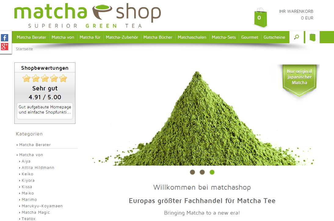 Neues Shopdesign www.matchashop.de