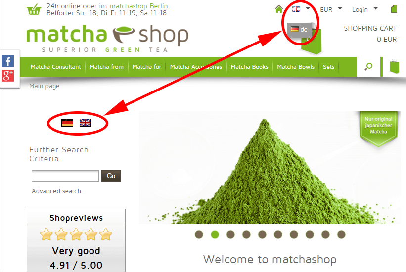matchashop now completely in english